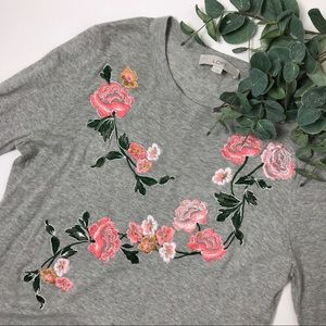 Loft Embroidered Slit Cuff Sweater Floral Gray